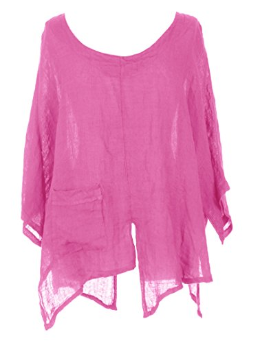 Batwing Plus Linen Hem Tunic V Pink Ladies Cerise TEXTURE Lagenlook Cutout Italian Size One Womens TnY8Y0qxS7