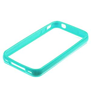 Sanheshun TPU Bumper Frame Matte Frosted Clear Back Cover Hard PC Case Compatible with iPhone 4 4G 4S Color Turquorise