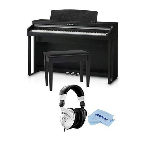 Kawai CA48 88-Key Grand Feel Compact Digital Piano with Bench, Satin Black - with Behringer HPS3000 High-Performance Studio Headphones, Microfiber Cloth by Kawai