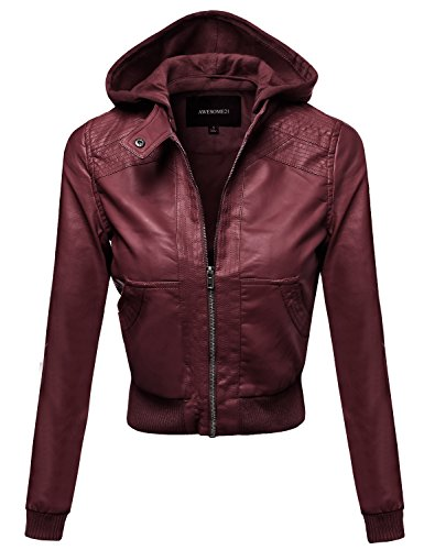 Quilted Faux Leather Moto Jacket with Detachable Hood Magenta Size L