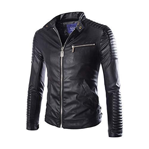 QBQCBB Men's Pleats Jacket Splicing Zipper Lapel Tops Imitation Leather Coat (Black,XXL) from QBQCBB
