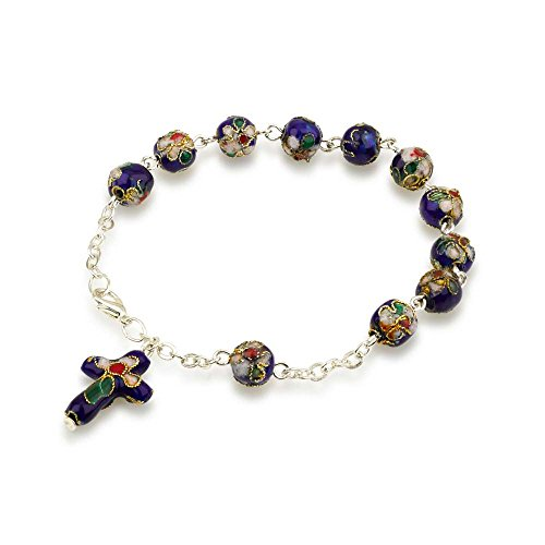 Hand Made Blue Glass and Enamel Beaded and Silver Plated Chain Bracelet Rosary, with Matching Enamel (Beaded Glass Cross)