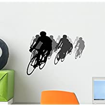 Cycling Tournament Silhouette Wall Decal by Wallmonkeys Peel and Stick Graphic (12 in W x 9 in H) WM22397