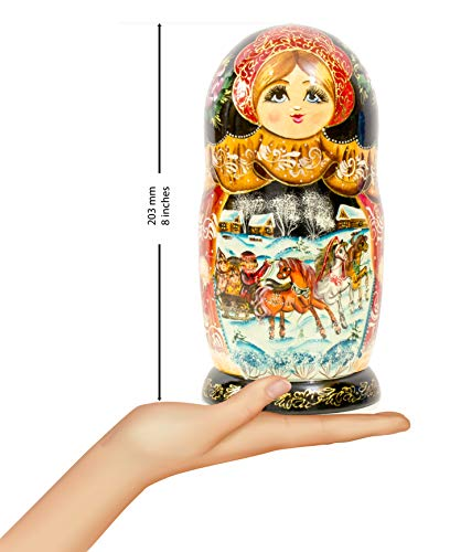 Nesting Doll - Russian Village - Hand Painted in Russia - Big Size - Wooden Decoration Gift Doll - Matryoshka Babushka (Design A, 8.25``(7 Dolls in 1)) by craftsfromrussia (Image #1)