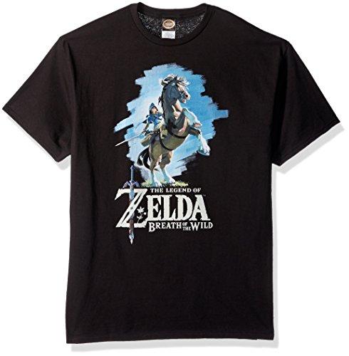 Nintendo Men's Zelda Breath of The Wild Link Epona Posing T-Shirt, Black, Medium