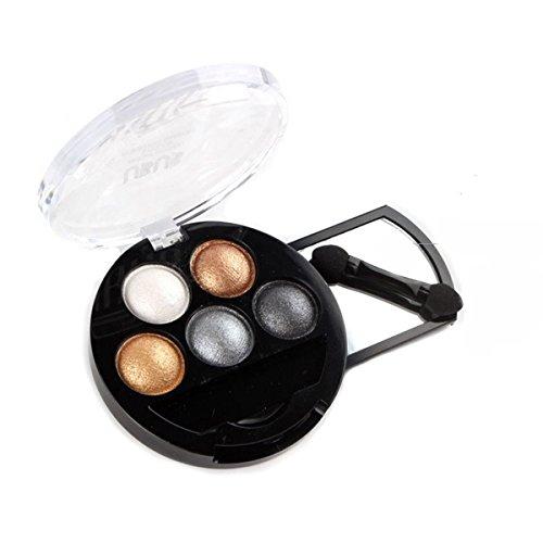 HugeStore 5 Colors Glitter Eyeshadow Eye Shadow Powder Palette Shimmer Metallic Brown