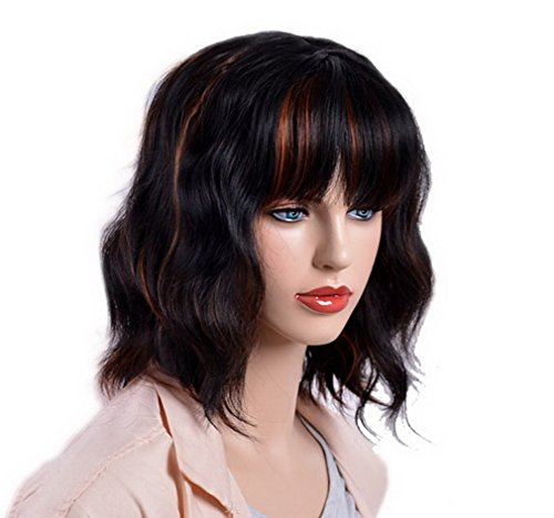 A.Monamour Women's Shoulder Medium Length Blunt Bangs Choppy Loose Beach Waves Wavy Bob Black Gold Mix Full Wig