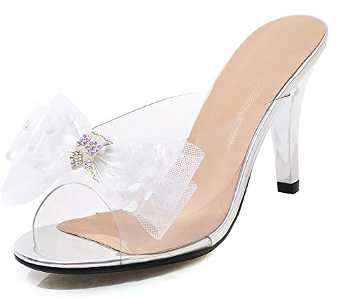 INSTAR Women's Lovely Open Toe Mesh Bows Floral High Chunky Heel Slide On Holiday Sandals Silver 12 M ()