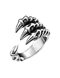 FANSING Jewelry Stainless Steel Dragon Claw Rings for Mens and Womens