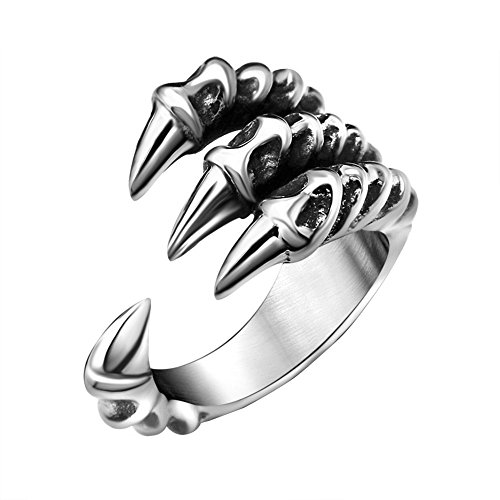 FANSING Mens Biker Ring, Punk Dragon Claw Rings, Stainless Steel, Casting Black, Size 8 Cat Stainless Steel Ring