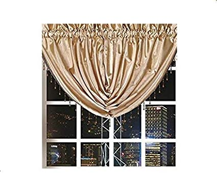 Octorose Royalty Custom Waterfall Window Valance Swags Tails Gold Swag 66x37 Wxh Home Kitchen
