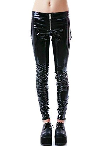 Goth Punk Vinyl (Lip Service Women's Cigarette Vinyl PVC Low Rise Goth Punk Rocker Skinny Jeans (M))