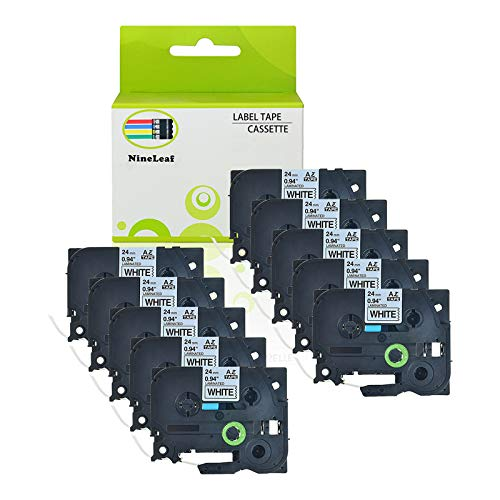 NineLeaf 10PK Label Tape Black on White Compatible for Brother TZe-251 TZ 251 TZe251 TZe 251 P-Touch 1