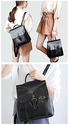 MATAGA - Bolso mochila  de Piel para mujer negro