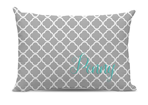 Monogrammed Gray Quatrefoil Dog Bed