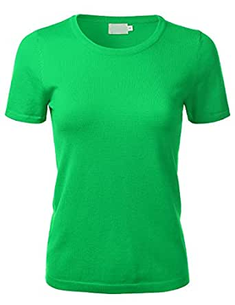 FLORIA Women's Soft Basic Crew Neck Pullover Short Sleeve Knit Sweater (S-XL) - Green - Small