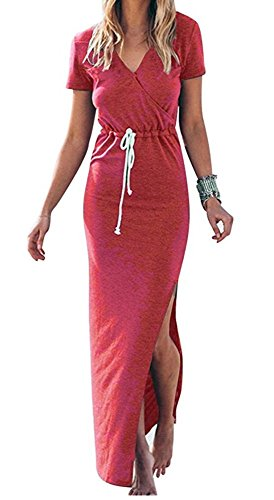 Women's Sexy V Neck Casual Beach Club Maxi Dresses Summer Party Long Dress Coral (Drawstring Dress)