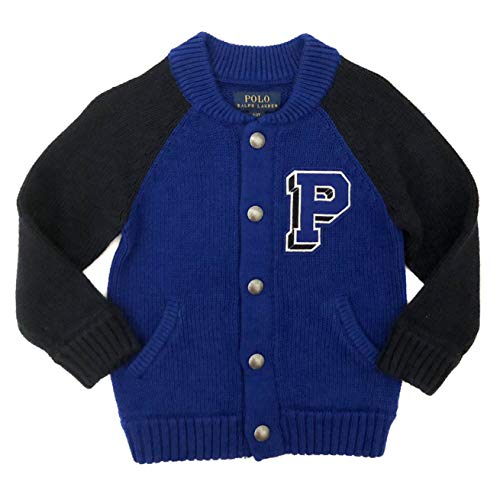 (Polo Ralph Lauren Toddler Boys Snap Button Front Knit Varsity Sweater Blue and Navy Blue (5))