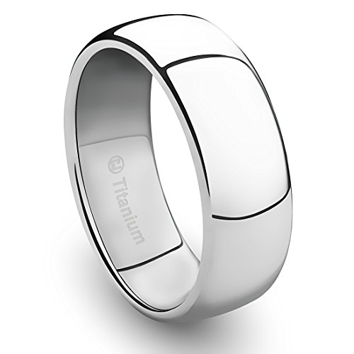 Titanium Polished Finish - 8MM Titanium Platinum-Plated Ring Classic Wedding Band with Polished Finish [Size 10]