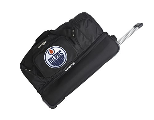 picture of NHL Edmonton Oilers Drop Bottom Rolling Duffel Bag, Black, 27-Inch