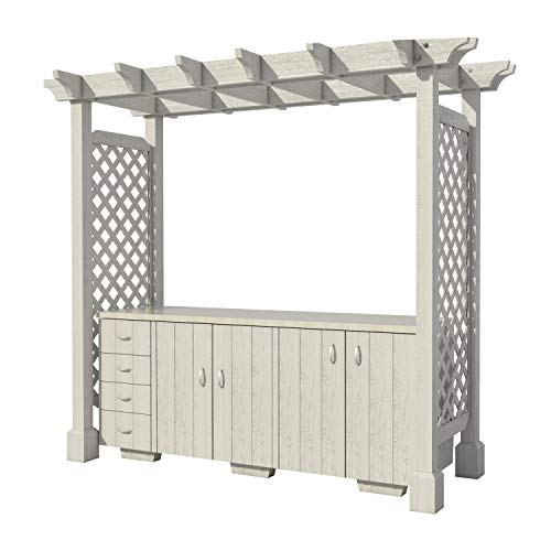 Outdoor Kitchen with Pergola Plans DIY for Backyard Patio Furniture Cooking (Furniture Patio Wood Blueprints)