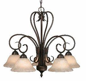 Bronze Finish 5 Light Chandelier (Golden Lighting 8606-D5 RBZ Homestead Five Light Nook Chandelier, Rubbed Bronze)