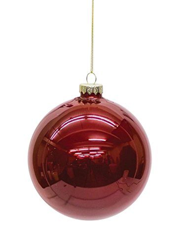 Diva At Home Set of 6 Shiny Ruby Red Glass Christmas Ball Ornaments 5