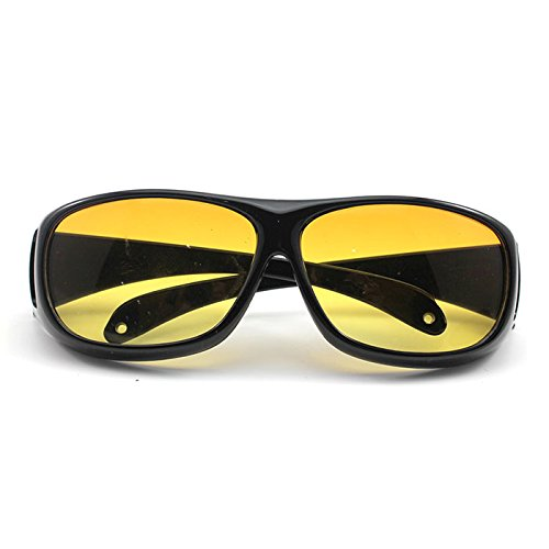 Outdoor HD Night Vision Care Eyes Protect Wrap Around Driving Sunglasses Glasses(Yellow) GGG
