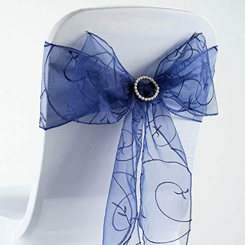 Mikash Embroidered Organza Chair Sash Bow Wedding Party Shower | Model WDDNGDCRTN - 19544 | 100