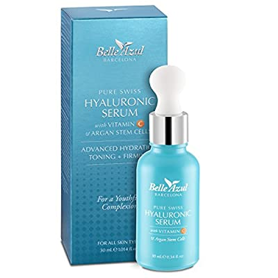 Belle Azul Pure Swiss Hyaluronic Acid Skin Serum + Vitamin C & Argan Stem Cells. Increases Moisture and Hydration for Supple Skin on the Face, Neck and Eyes. 30 ml / 1.014 fl oz
