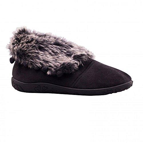 Ladies Extra Eskimo Fur Faux Microsuede Fit Wide Padders Black Boot ee Slippers 5XHxgqwwd