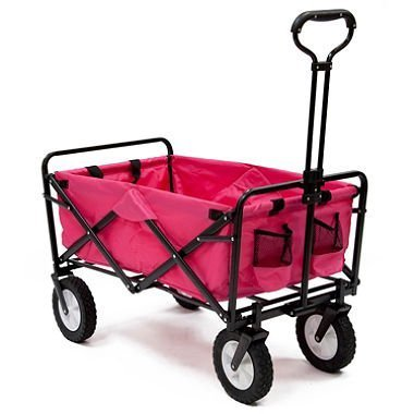 Pink Mac Sports Collapsible Folding Utility Wagon Garden Cart Shopping Beach For Sale