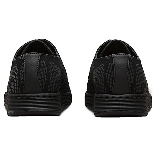 Dr.Martens Womens Cavendish 3 Eyelet Reflective Snake Black Nubuck Shoes 36 EU