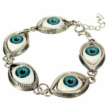 Punk Evil Eyes Charm Bangle Bracelet Metal Eyeballs Bracelet - Unisex Eye