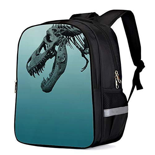 Kids School Backpack Travel Durable Oxford Fabric Daypack, Tyrannosaurus Rex Skeleton Student Schoolbag with Pockets for Boys/Girls 13 x 11 x 6in