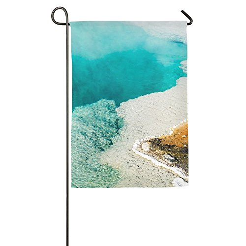 EHAKB Davis Relev 12.5 x 18 inch Steam Rises from A Beautiful Deep Blue Hot Spring Pool at West Thumb Geyser Basin in Yellowstone Family Garden House Home Demonstration Decorative Flag ()