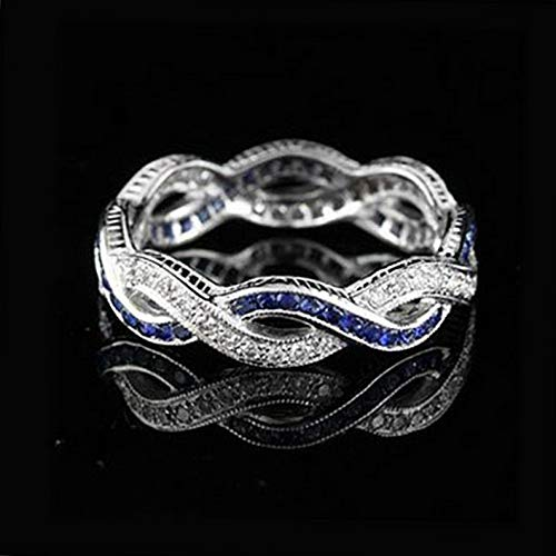 Waldenn Women Blue Sapphire 925 Silver Infinity Wedding Man Jewelry Gift Ring Size 5-10 | Model RNG - 13857 | - Engraved Locket Octagon