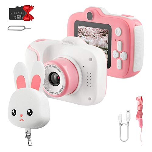 Etpark Kids Camera for Girls Toys 1080P HD Dual Lens, Toddler Toys Video Recorder 2 Inch, Children Digital Cameras Birthday for Age 3-10 Year Girls Boys with 32GB SD Card (Pink)