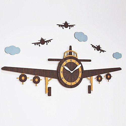 Bresto Watch The Large Plane Clock Creative Clock Living Room Modern European Children's Cartoon Watch Wooden Biplane,Monoplanemodern Decoration, Classic, Durable, Retro, Simple and Simple Home Fashi ()