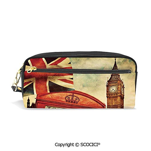 Girls Boys 3D Printed PU Pencil Case Holders Bag with Zipper Vintage Style Symbols of London with National Flag UK Great Britain Old Clock Tower Decorative Stationery Makeup Cosmetic Bags Back to ()