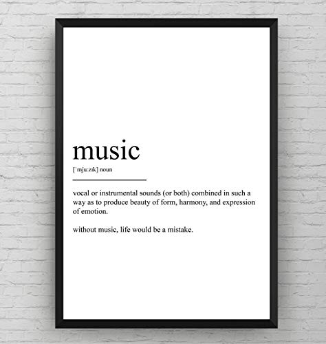 Music Definition Print - Musician Room Poster - Teacher Gift - Wall Art Student Quote Typography Decor - Frame Not Included (Best Definition Of Music)