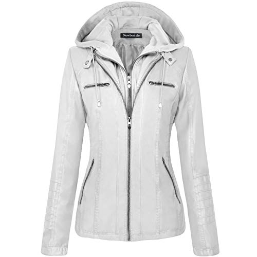 Newbestyle Women's Hooded Faux Leather Moto Biker Short Jacket Quilted Zip Up Coats White 2X-Large