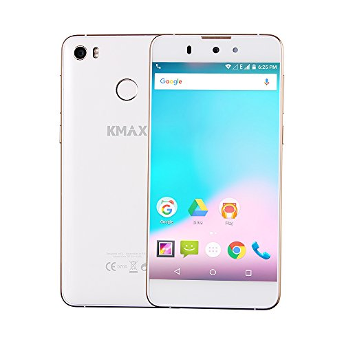 ECVILLA KMAX One Dual-SIM 1.3GHz Smartphone (5 Zoll (12,7 cm) HD IPS Touch-Display,Fingerabdruck-Sensor,Android 5.1 Qcta Core,16GB Speicher2GB RAM,Dual 13.0MP+13.0MP Kamera ,WIFI,GPS (Weiß)
