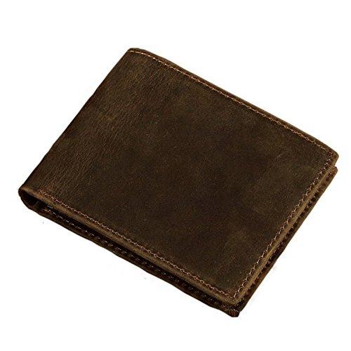 Stepack Vintage Natural Genuine Leather Men's Slim Bifold Wallet (Brown) - Alligator Breast Pocket Wallet