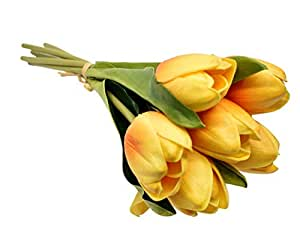 6 Heads Yellow Tulip Artificial Flower Real Touch PU Artificial Bouquet Flowers