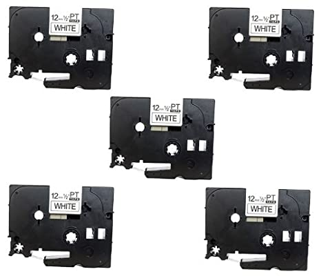 5 Casetes de Cinta compatibles con TZe231 TZ231 Negro Sobre Blanco 12mm x 8m para Brother