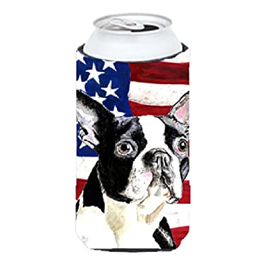 USA American Flag with Boston Terrier  Tall Boy Beverage Insulator Beverage Insulator Hugger