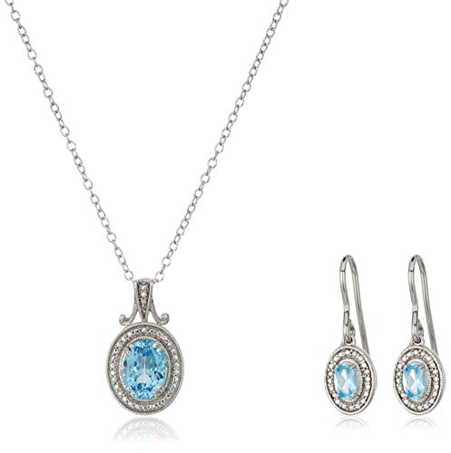 Sterling Silver Created Sapphire Oval Pendant Necklace & Earring Box Set, (Oval Sapphire Twist)