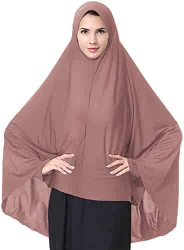 39c55c89c Ababalaya Women's Elegant Modest Muslim Islamic Ramadan Soft Lightweight  Jersey Hijab Long Scarf