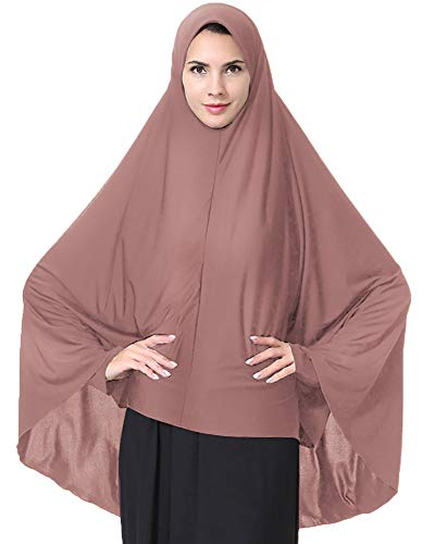 (Ababalaya Women's Elegant Modest Muslim Islamic Ramadan Soft Lightweight Jersey Hijab Long Scarf,Dark Pink,M)